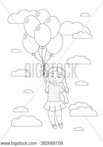 The Girl Is Flying On Balloons In The Sky Among The Clouds. Coloring Page. Greeting Card. Vector.