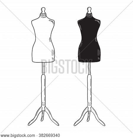 Retro Clothing Mannequin. White And Black Vector Silhouettes. Vintage Female Mannequin Dress Dummy.