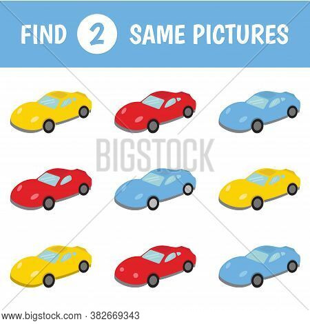 Children's Educational Game. Find Two Same Pictures. Set Of Cars. Vector Illustration.