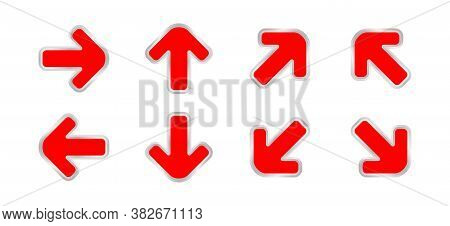 Arrow Pointing Red Color Isolated On White, Clip Art Arrow Icon Set For Direction Pointing, Modern A