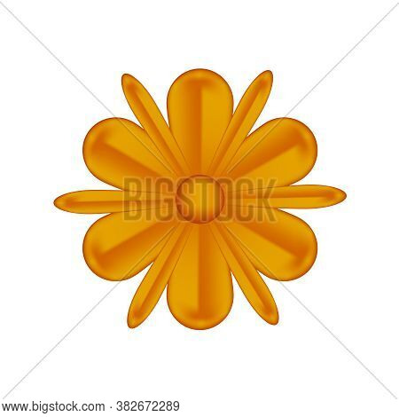 Flowers Copper Ornate Isolated On White, Luxury Flower Petal Copper, Copper Flowers Object Metal Scu