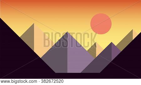 Simplicity Sunset At Mountains Landscape Modern Style Wallpaper Background. Vector Illustration.