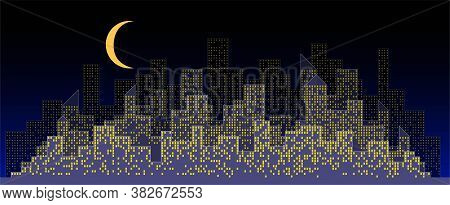 Abstract Futuristic City Night Sky With Modern Buildings Vector Wallpaper Background. Vector Illustr