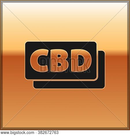 Black Cannabis Molecule Icon Isolated On Gold Background. Cannabidiol Molecular Structures, Thc And