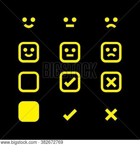 Yellow Glowing Icon Emotions Face, Emotional Symbol And Approval Check Sign, Emotions Faces And Chec