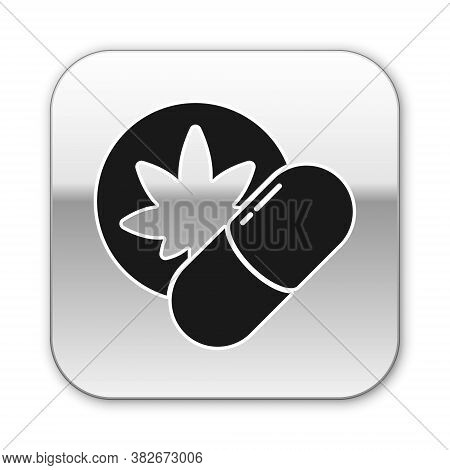 Black Herbal Ecstasy Tablets Icon Isolated On White Background. Silver Square Button. Vector Illustr