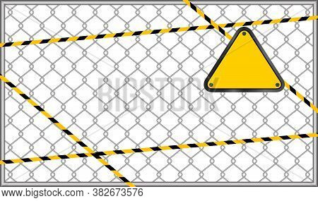 Caution Tape Line Stripe On Wire Mesh And Triangle Warning Sign, Triangle Sign Yellow On Wire Mesh,