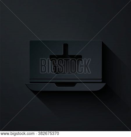 Paper Cut Shopping Basket On Screen Laptop Icon Isolated On Black Background. Concept E-commerce, E-