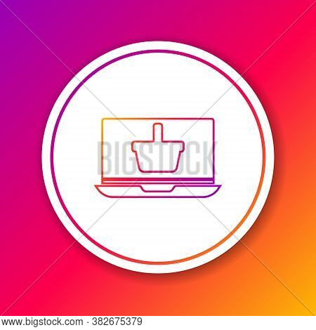 Color Line Shopping Basket On Screen Laptop Icon Isolated On Color Background. Concept E-commerce, E