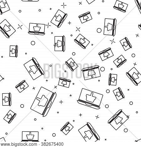 Black Line Shopping Basket On Screen Laptop Icon Isolated Seamless Pattern On White Background. Conc