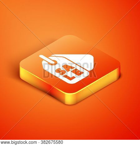 Isometric Price Tag With An Inscription Sale Icon Isolated On Orange Background. Badge For Price. Pr