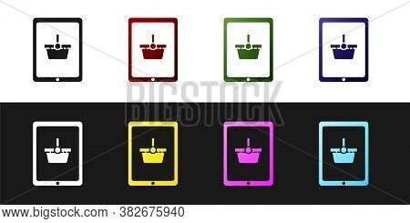 Set Shopping Basket On Screen Tablet Icon Isolated On Black And White Background. Concept E-commerce