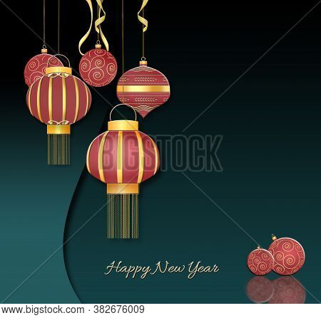 Red Balls With Gold Ornament, Chinese Style Hanging Red Lanterns With Confetti On Dark Green Backgro