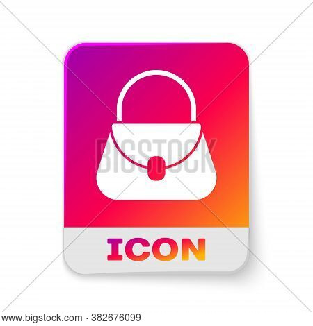 White Handbag Icon Isolated On White Background. Female Handbag Sign. Glamour Casual Baggage Symbol.