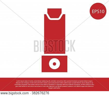 Red Inhaler Icon Isolated On White Background. Breather For Cough Relief, Inhalation, Allergic Patie