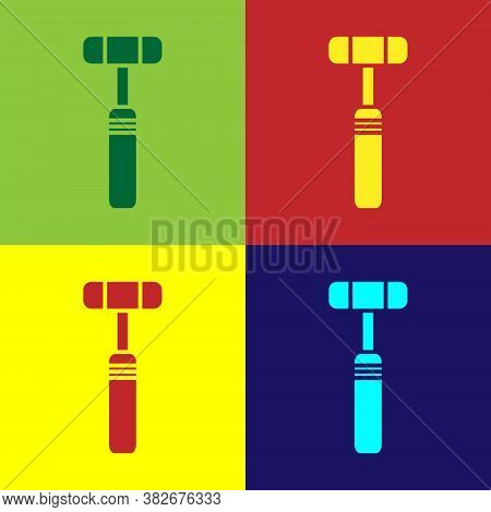 Pop Art Neurology Reflex Hammer Icon Isolated On Color Background. Vector Illustration