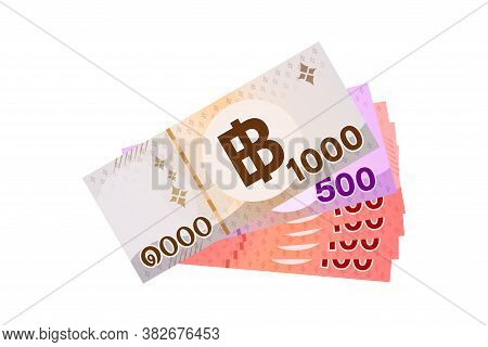 1,900 Baht Thai Banknote Money, Thai Currency One Thousand Nine Hundred Thb Concept, Pile Money Isol