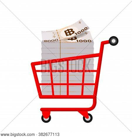 Banknote Money 1000 Baht Thai In Red Cart, Bank Note Money Baht In Trolley Cart Shopping, Business F