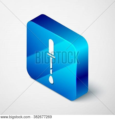 Isometric Pipette Icon Isolated On Grey Background. Element Of Medical, Chemistry Lab Equipment. Pip
