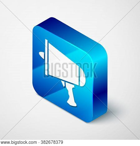 Isometric Spread The Word, Megaphone Icon Isolated On Grey Background. Blue Square Button. Vector Il