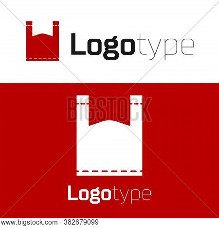 Red Plastic Bag Icon Isolated On White Background. Disposable Cellophane And Polythene Package Prohi