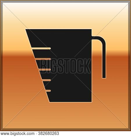 Black Measuring Cup To Measure Dry And Liquid Food Icon Isolated On Gold Background. Plastic Graduat
