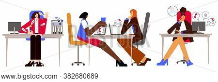 Procrastination And Delaying Working Tasks Concept. Woman Sitting In An Office. Two Women Are Talkin