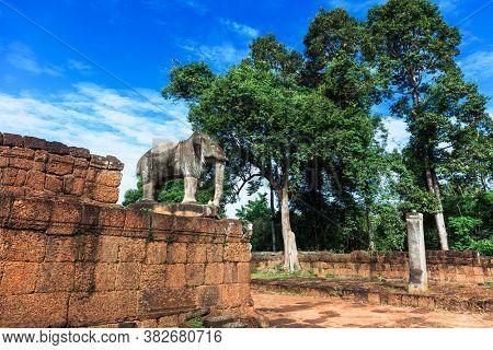 elephant sculpture in East Mebon temple, Siem Reap, Cambodia