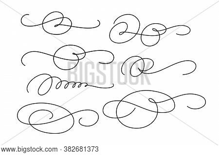 Set Of Calligraphic Flourishes For Decoration Greetings Card Or Invitations. Vector Illustration