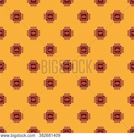 Red Computer Processor With Microcircuits Cpu Icon Isolated Seamless Pattern On Brown Background. Ch