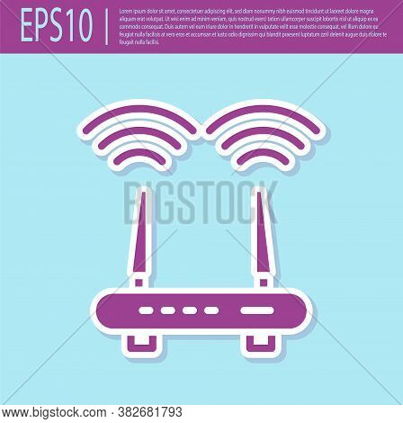 Retro Purple Router And Wi-fi Signal Icon Isolated On Turquoise Background. Wireless Ethernet Modem