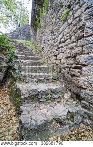 Natural Stone Stairs Landscaping In An Italian Fortress