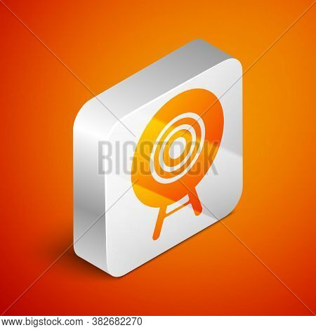 Isometric Target Sport Icon Isolated On Orange Background. Clean Target With Numbers For Shooting Ra