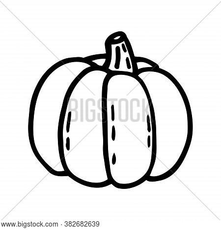 Pumpkin Line Art. Old School Tattoo. Halloween Design Element, Icon, Sticker. Holiday Ink Stamp, Sil
