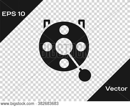 Black Spinning Reel For Fishing Icon Isolated On Transparent Background. Fishing Coil. Fishing Tackl