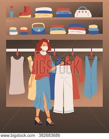 Image, Style And Fashion Concept. Redhead Female Character Goes Shopping At Fashion Clothes And Acce
