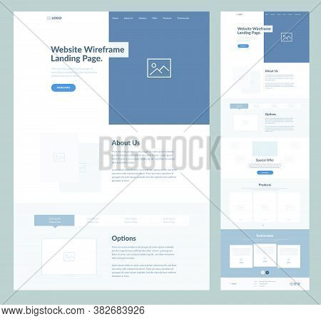 Website Landing Page Wireframe Design For Business. One Page Site Layout Template. Modern Flat Ux/ui