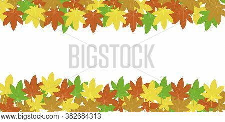 Banner Of Autumn Chestnut Leaves Top And Bottom