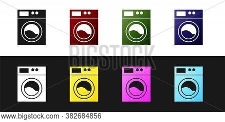 Set Washer Icon Isolated On Black And White Background. Washing Machine Icon. Clothes Washer - Laund