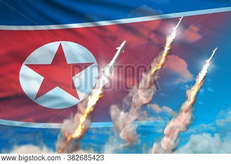 North Korea Supersonic Missile Launch - Modern Strategic Nuclear Rocket Weapons Concept On Blue Sky