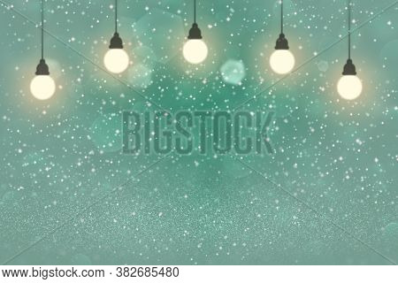 Teal, Sea-green Wonderful Shiny Abstract Background Light Bulbs With Sparks Fly Defocused Bokeh - Ce