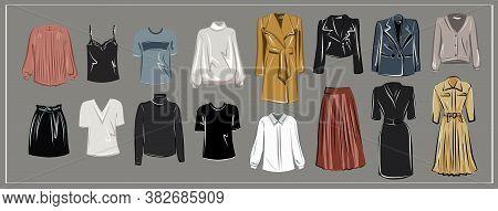 White Blouse, Powdery Silk Shirt, A Black And White Turtleneck, Leather Skirt, Fall Long Skirt, Blac