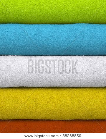Colorful towels stacked on each other