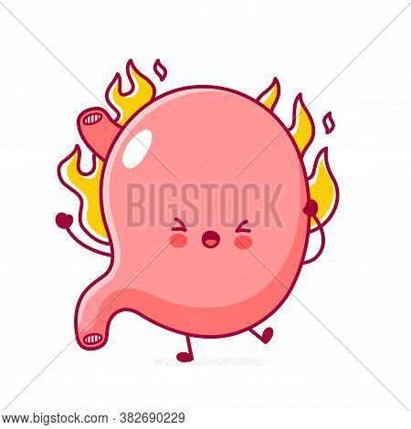 Cute Happy Funny Stomach Organ Burn. Vector Flat Line Cartoon Kawaii Character Illustration Icon. Is