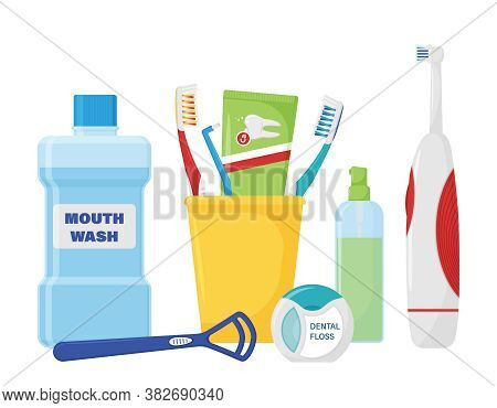 Composition Of Items For Cleaning Teeth And Oral Care. Toothbrushing. Dental Accessories For Oral Hy