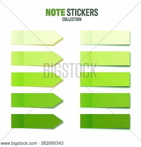 Realistic Green Sticky Notes Collection. Arrow Flag Tabs. Post Note Stickers. Colorful Sticky Paper