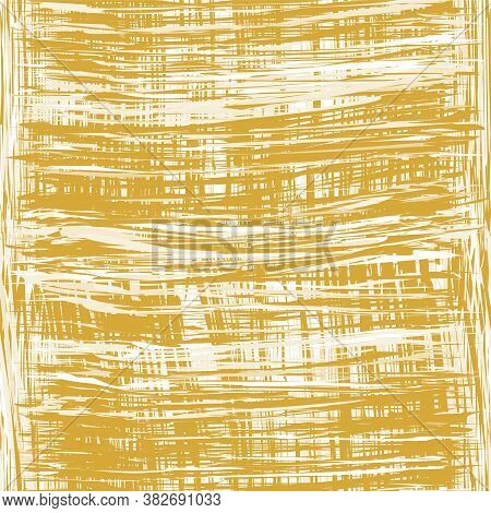 Seamless Weave Pattern With Grunge  Intersect Vertical And Horizontal Stripes In Yellow, Brown, Beig