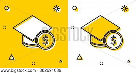Black Graduation Cap And Coin Icon Isolated On Yellow And White Background. Education And Money. Con
