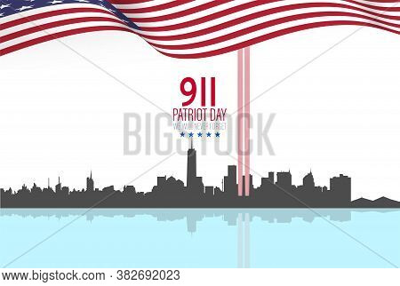 New York City Skyline With Twin Towers.  09.11.2001 American Patriot Day Anniversary Banner. Vector
