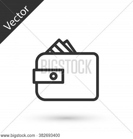 Grey Line Wallet With Stacks Paper Money Cash Icon Isolated On White Background. Purse Icon. Cash Sa